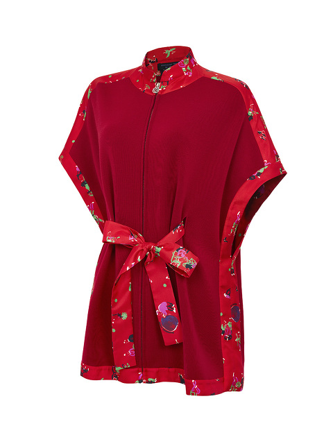 Wool Chinese Jugglers Zip Cardigan with Silk Belt