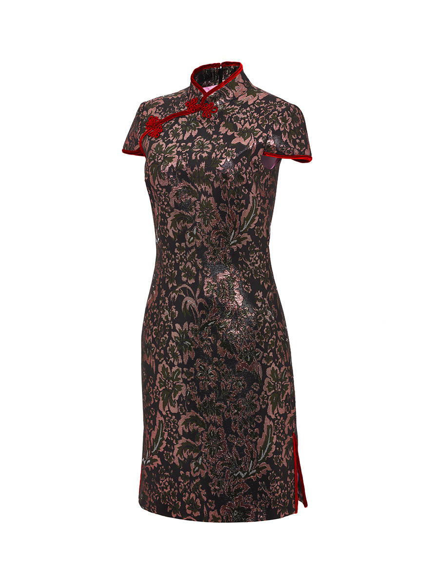 Lurex Jacquard Qipao Dress