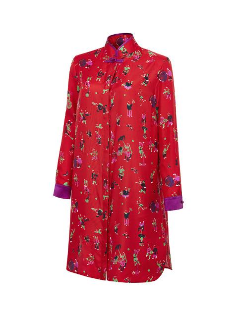 Chinese Jugglers Silk Twill Mandarin Collar Dress