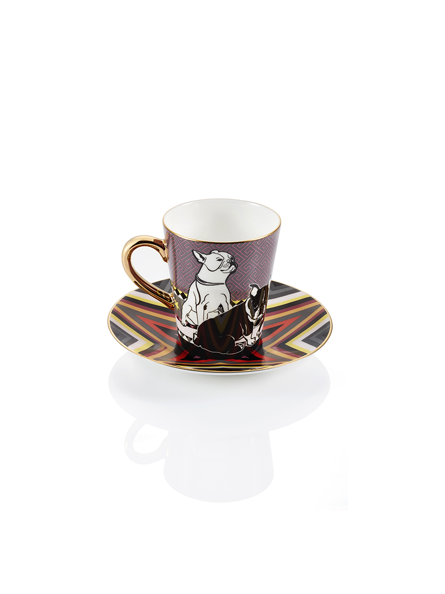 Laki Star Fine Bone China Espresso Cup & Saucer Set