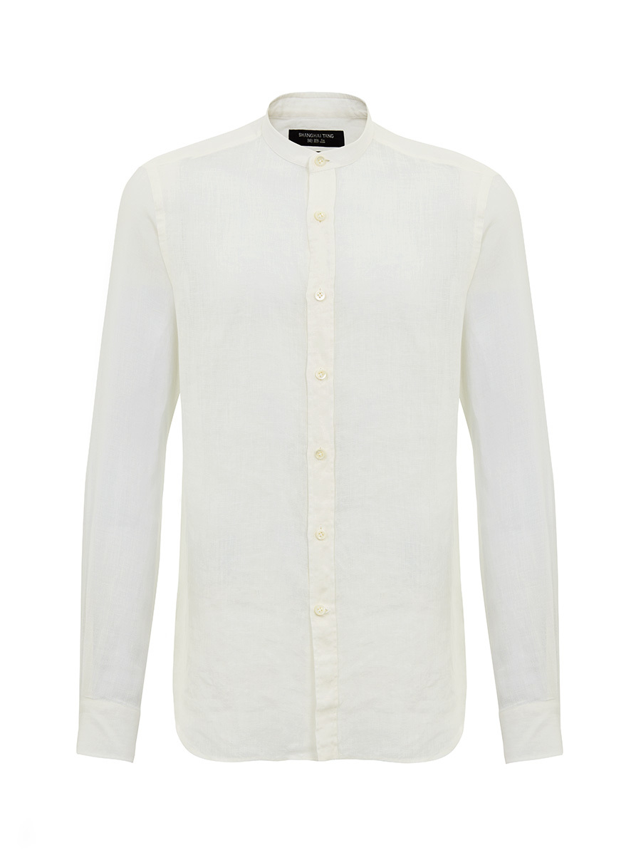 Linen Band Collar Shirt