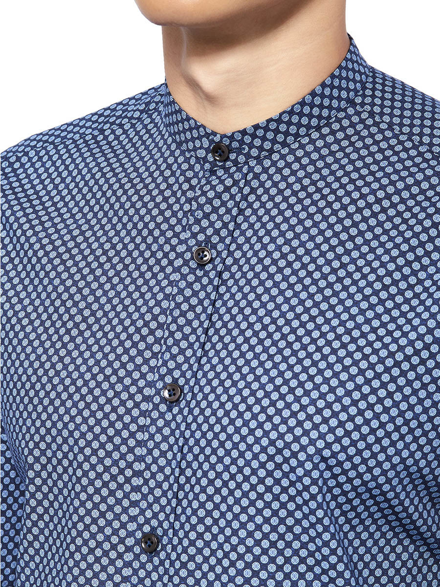 Shou Printed Band Collar Shirt