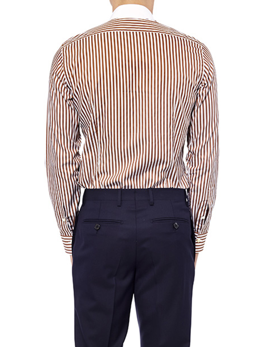 Striped Shirt With White Mandarin Collar