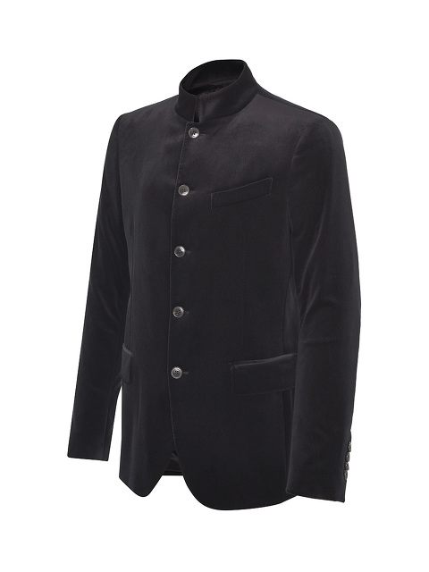 Velvet Mandarin Collar 5 Buttons Jacket