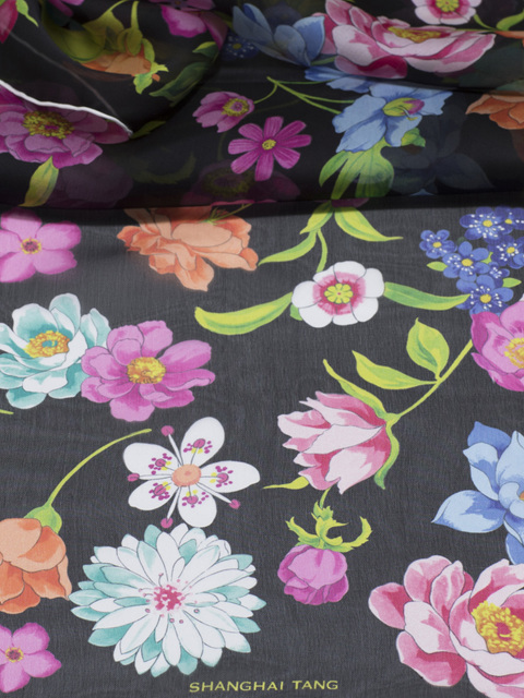 Large Peau D'Ange Silk Flower Scarf