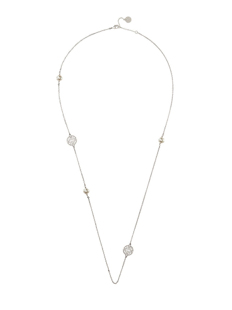 Shou Necklace With Crystals And Imitation Pearls