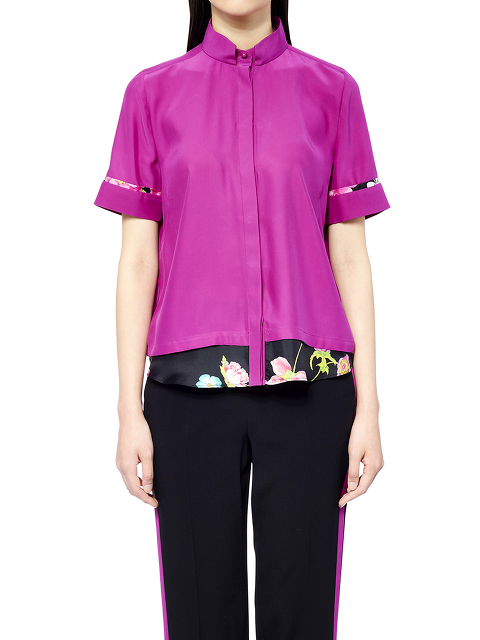 Short Sleeve Mandarin Collar Blouse