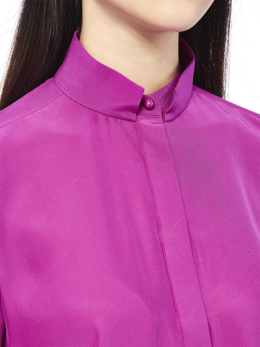 Short Sleeve Mandarin Collar Blouse