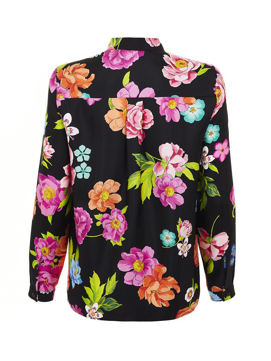 Flower Printed Silk Blouse