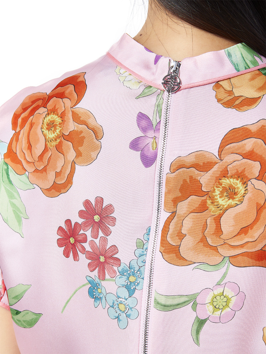 Flower Print Silk Shirt
