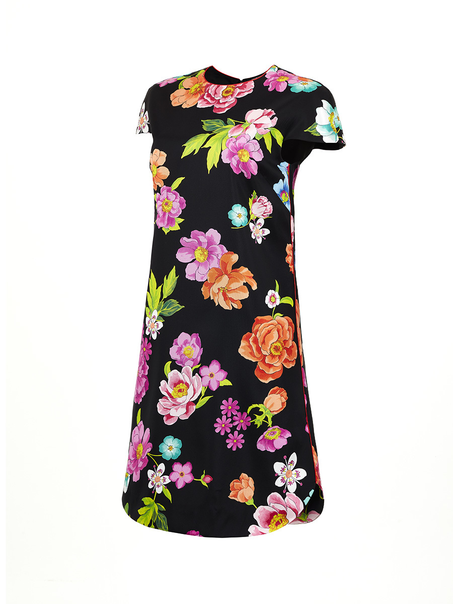 Flower Printed Silk Short Dress