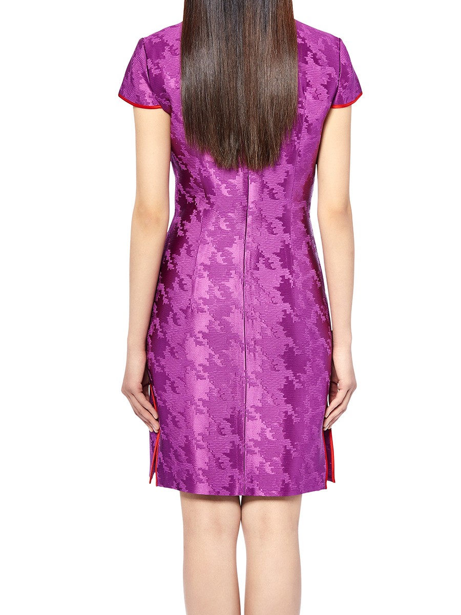 Pied De Poule Jacquard Qipao Dress