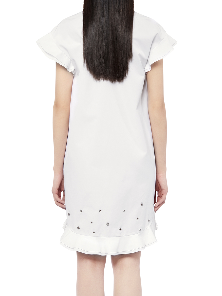 Short Ruffles Dress With Eyelets