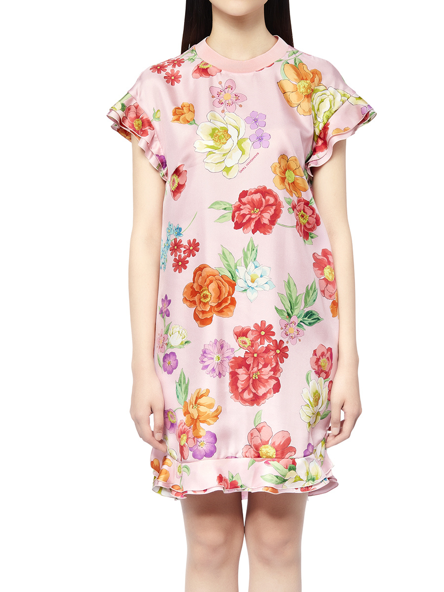 Flower Printed Short Dress