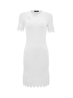 Knit Qipao Dress With Scallops