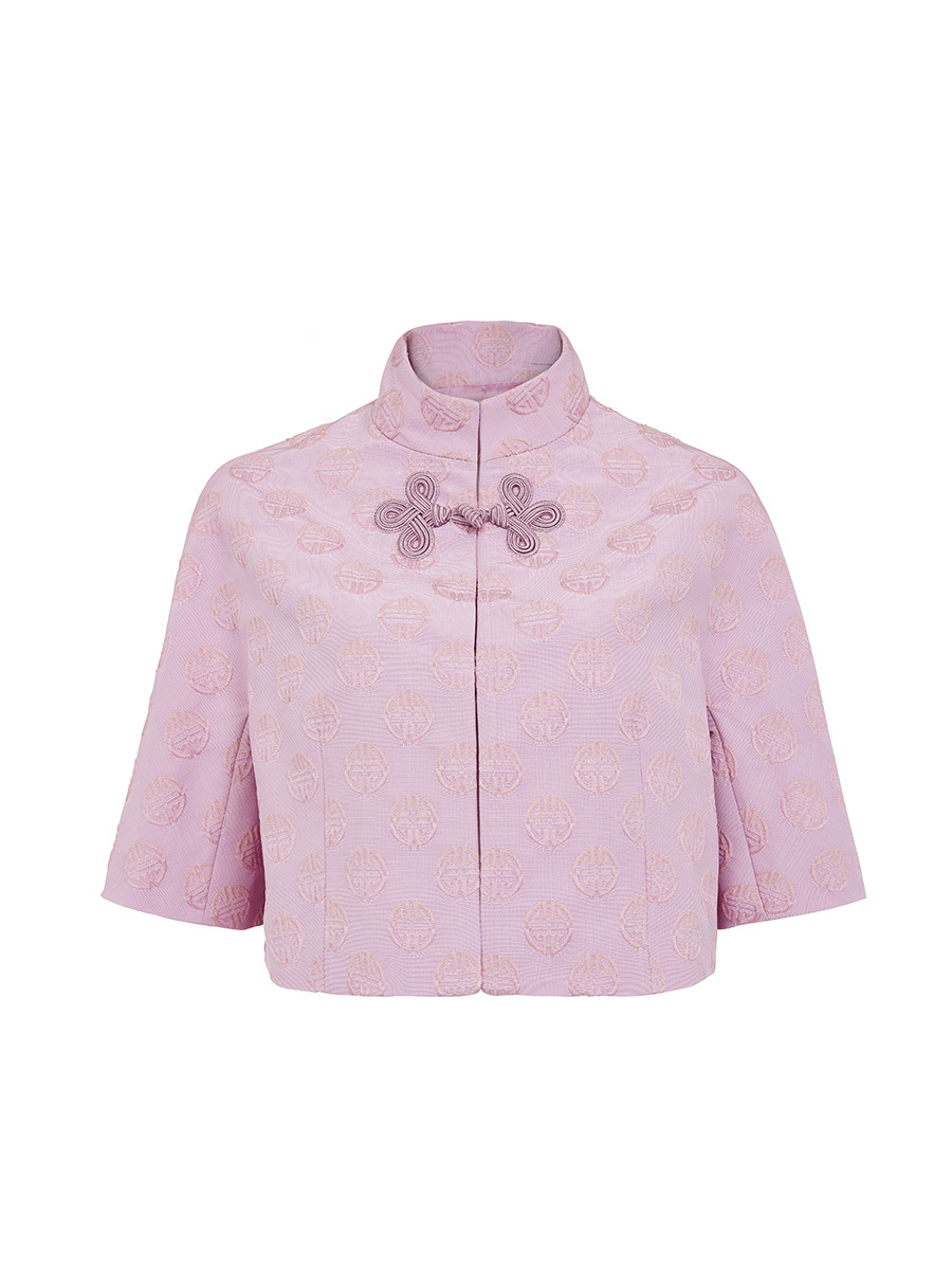 Cropped Mandarin Collar Jacket