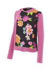 Flower Print Long Sleeve Knit Top