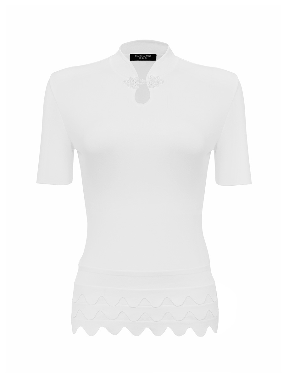 Viscose Short Sleeves Scallops Knit Top