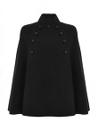 Wool Mandarin Collar Cape