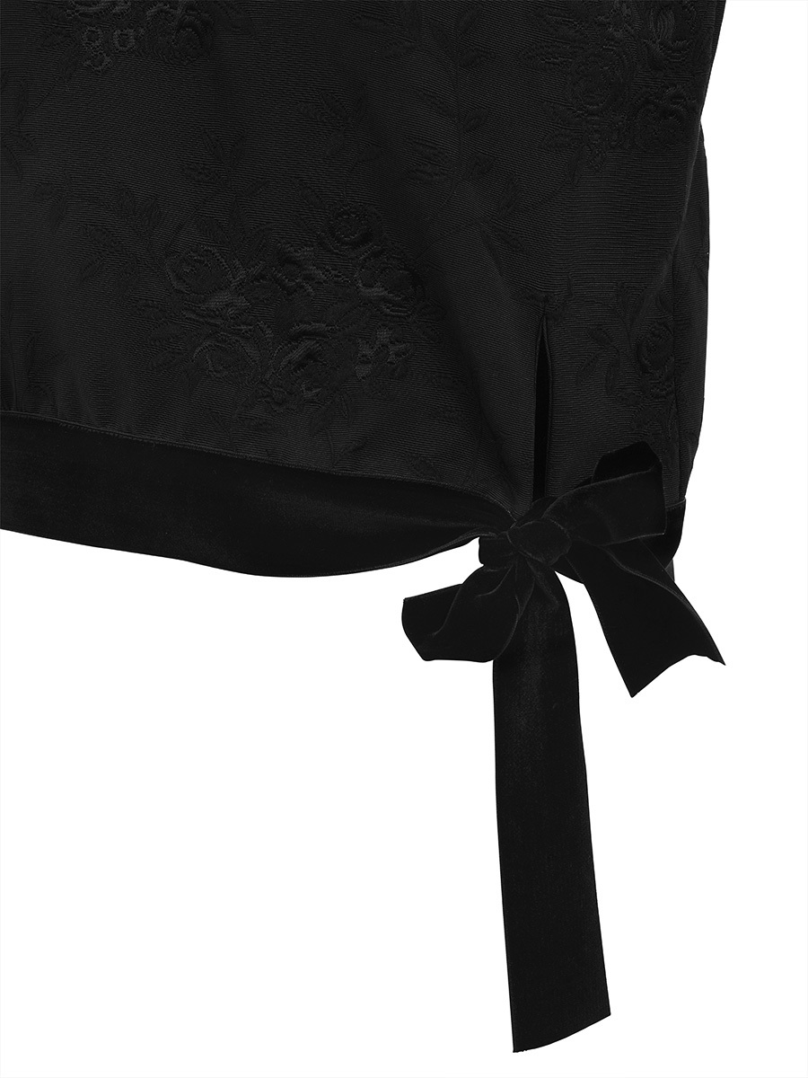 Jacquard Top With Velvet Details