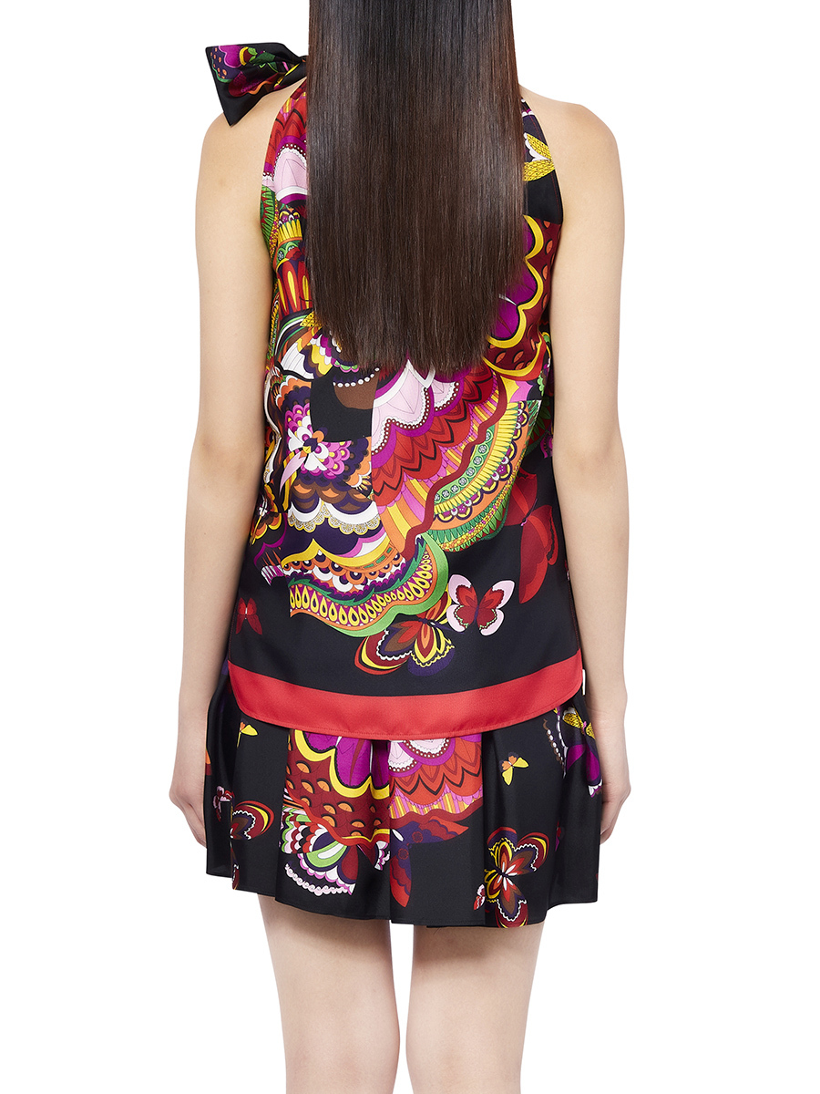 Flower Print Sleeveless Top With Bow