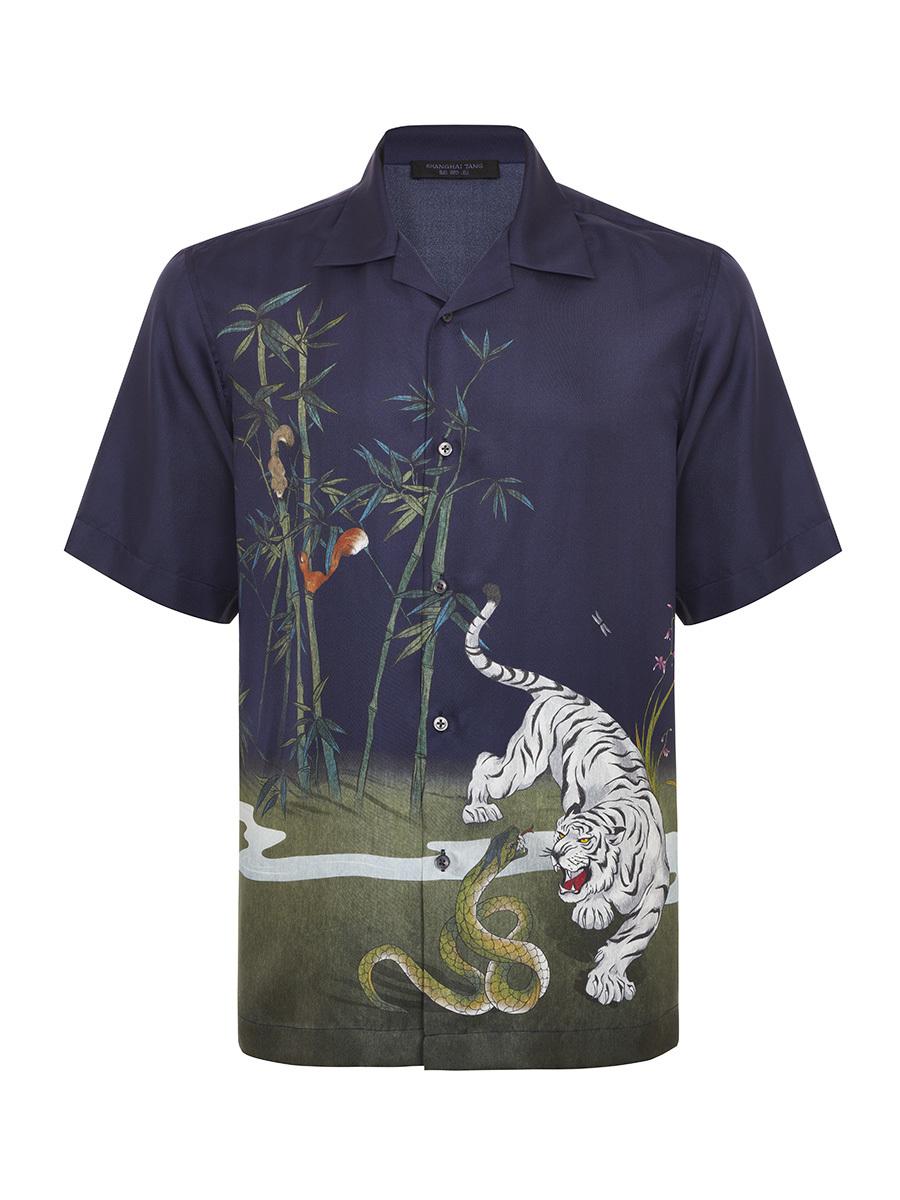Tiger Scenery Print Silk Bowling Shirt