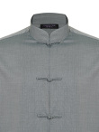 Cotton Chambray Tang Shirt Jacket with Frog Buttons