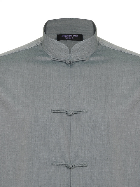 Chambray Tang Shirt Jacket with Frog Buttons