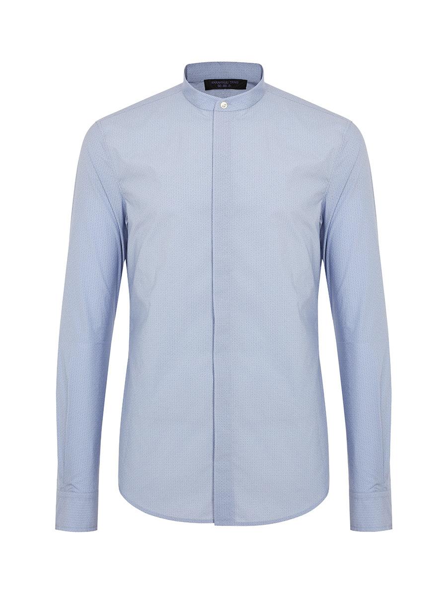 Ripple Print Band Collar Cotton Shirt