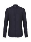 Cotton Mesh Long Sleeve Shirt with Mandarin Collar