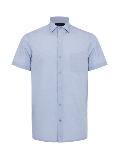 Ripple Print Short Sleeve Cotton Shirt