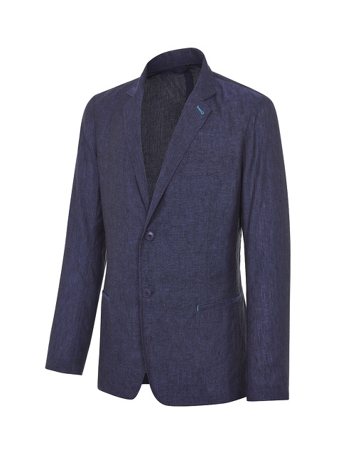 Contrast Stitch Linen 2-button Jacket