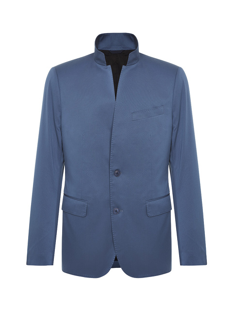 Stand Collar 2-button Cotton Jacket