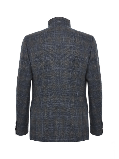 Plaid Wool-silk Stand Collar Jacket