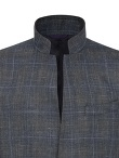Wool Linen 2 Buttoned Standing Collar Jacket