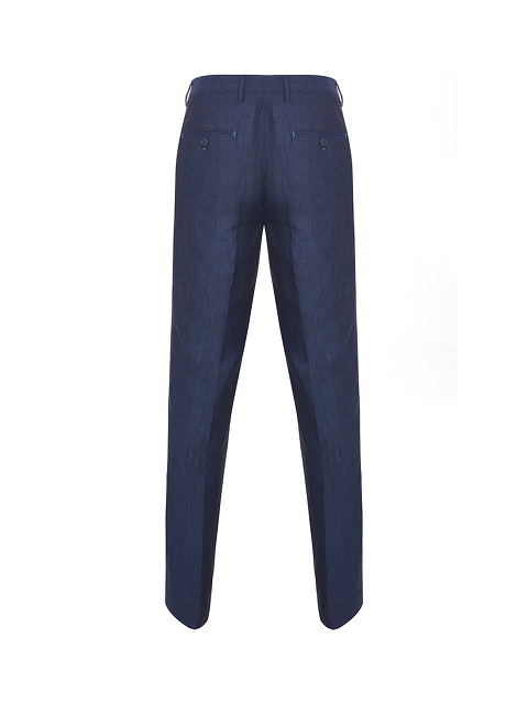 Contrast Stitch Linen Trousers