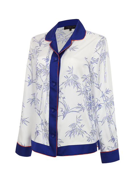 Pyjama Shirt with Porcelain Bamboo Print