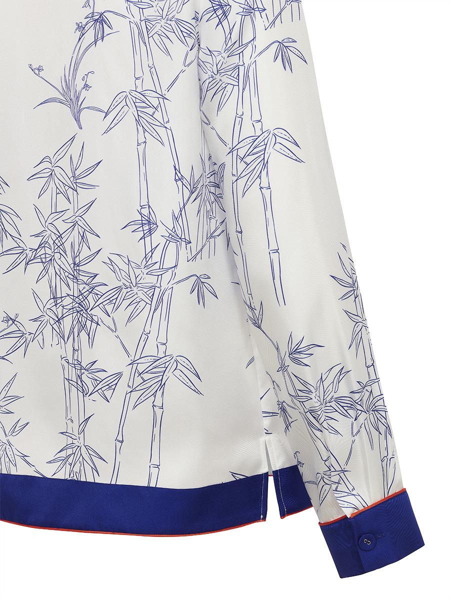 Pyjama Shirt With Porcelain Bamboo Print
