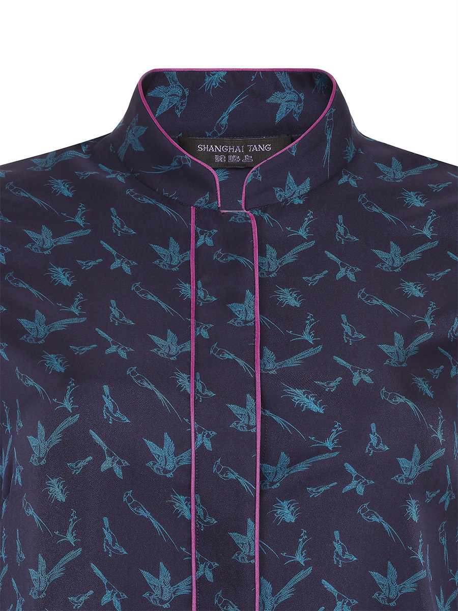 Silk Twill Shirt with Bird Print