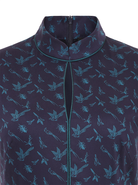 Bird Print Stretch Cotton Qipao