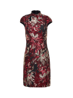 Floral Jacquard Mini Qipao with Jersey Back