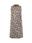 Multicolor Jacquard Chinese Sleeveless A Line Dress With Stand Collar
