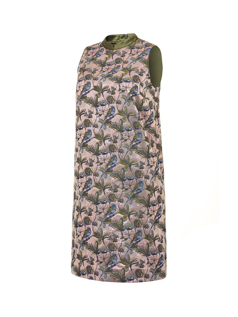 Bird and Floral Jacquard Sleeveless A-line Dress