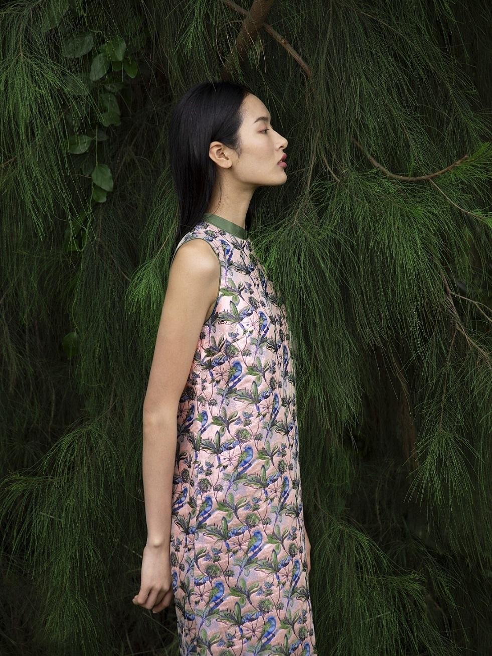 Bird and Floral Jacquard Sleeveless A-line Dress