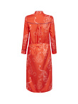 Long Silk Chemisier with Tiger and Snake Print