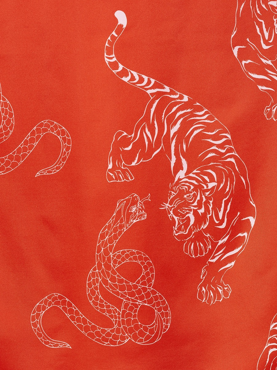 Long Silk Chemisier with Tiger & Snake Print