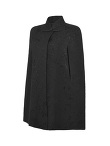 Lightweight Jacquard Cape with Leather Buttons