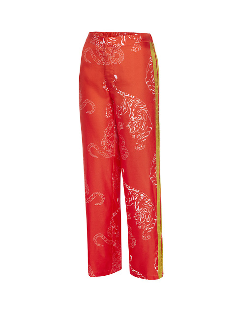 Silk Twill Pyjama Pants with Tiger & Snake Print