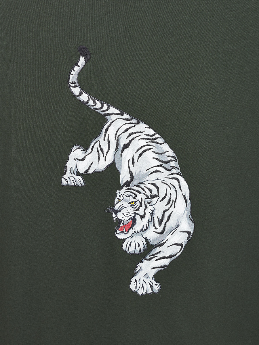 Embroidered Tiger Print Cotton T-shirt
