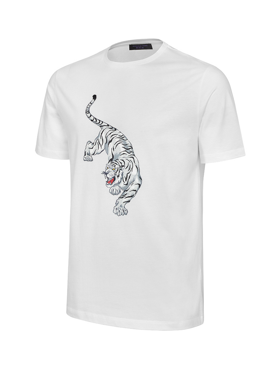 Tiger Print and Embroidery Cotton T-shirt